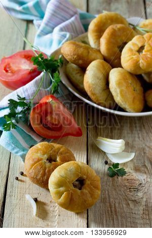 Open Pies With Meat (belyashi). The Traditional Dish Of Tatar Cuisine.