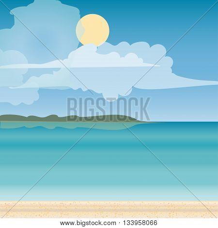Sea horizon nature landscape. Tourism journey on the sea. Tropical travel beach vacation. Vector illustration