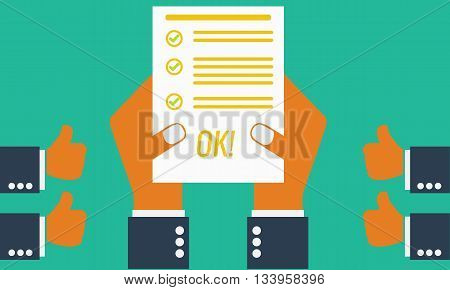 Businesman or student's hand showing paper or exam test results with checkmark and success. Everyone likes him. Vector Illustration. Isolated on ping background.