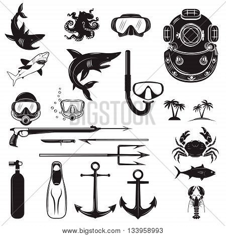 Diver design elements. Diver weapon diver helmet equipment for diving. Design element for poster flyer emblem logo sign. Vector illustration.