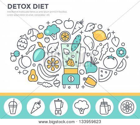 Detox diet, vegetarian food concept illustration with smoothie maker, fresh fruit and vegetables. Thin line flat design