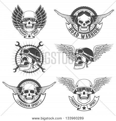 Set of motorcycle club labels templates.Skulls in motorcycle helmets with wings. Design elements for logo label emblem sign badge. Vector illustrations.