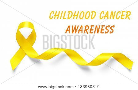Yellow ribbon and text Childhood Cancer Awareness on light background