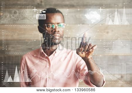 Visual Effects. Future Technology Touch Screen Interface. Handsome African American Businessman In S