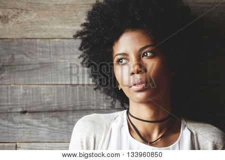Highly-detailed Portrait Of Beautiful Dark-skinned Young Student Girl With Healthy Skin And Afro Hai