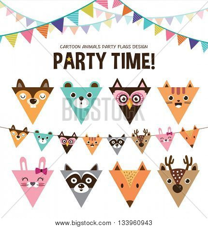 Set of cartoon animals party flags
