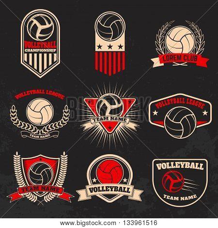 Volleyball labels. Design elements for logo label emblem sign badge.