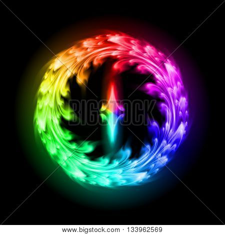 Multicolored fire ornate decorative floral pattern on the black background. Two swirl vertical symmetry patterns.