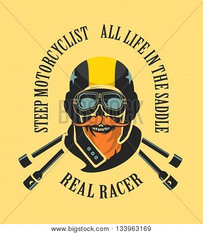 vector emblem retro motorcyclist old skull in a motorcycle helmet