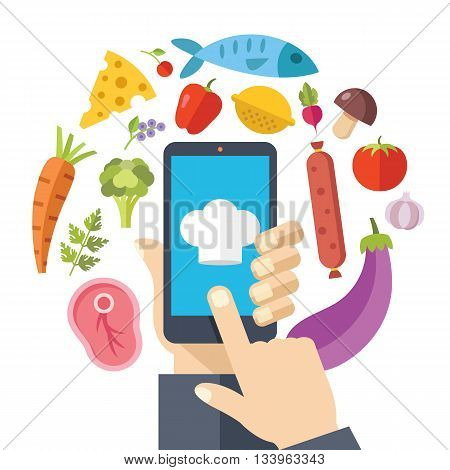 Hand holding smartphone with online recipes app on screen. Food icons set. Cooking at home concept. Flat design graphics for web sites, web banner, infographics, printed materials. Vector illustration