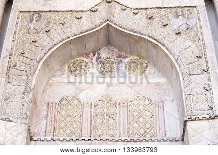 Architectural decoration on the facade of San Marco Cathedral in Venice Italy