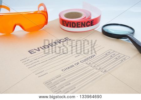 evidence bag with forensic tool for crime scene investigation