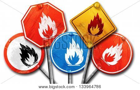 Flammable hazard sign, 3D rendering, street signs, 3D rendering,