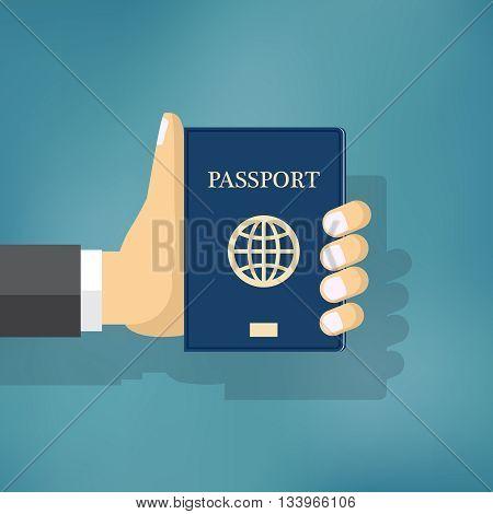 Businessman Hand Hold Travel Identification Document. Passport illustration.