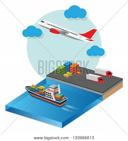 Global Transports and Logistics Industry flat vector