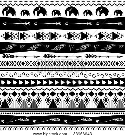 Black and white vintage ethnic tribal designs seamless pattern