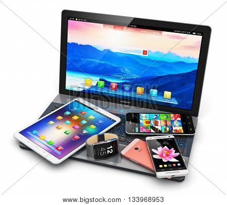 3D illustration of modern mobile devices - black glossy touchscreen smartphone or mobile phone, tablet computer PC, laptop or notebook and smartwatch or clock or fitness tracker with colorful screen interfaces with icons and buttons isolated on white