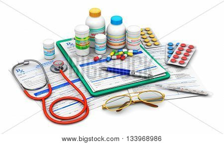 3D illustration of green clipboard pad with blue prescription medicine drug claim form, ballpoint pen, eyeglasses, stethoscope and group of plastic bottles and containers with color drug pills, heap of tablets and other supplies isolated on white