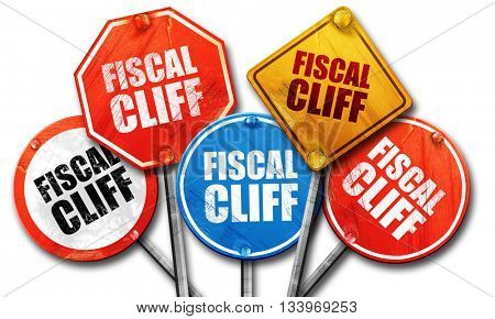 fiscal cliff, 3D rendering, street signs