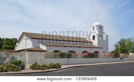SCOTTSDALE, ARIZONA - JUNE 10, 2016: The Old Adobe Mission. Established in 1933 it is the oldest standing church in Scottsdale and the first Catholic Parish.