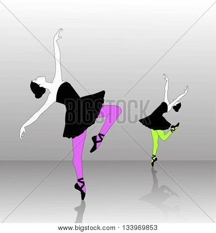 the vector dancer silhouette on gradient background