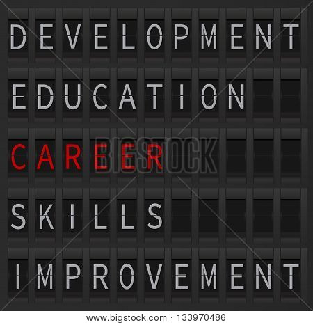 Career concept as a departure goal. Career word displayed at airport style board. Career and education, development, improvement and skills.