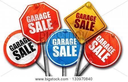 garage sale, 3D rendering, street signs