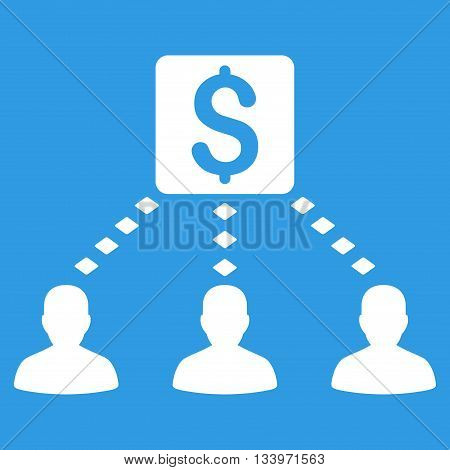 Money Recipients vector toolbar icon. Style is flat icon symbol, white color, blue background, rhombus dots.