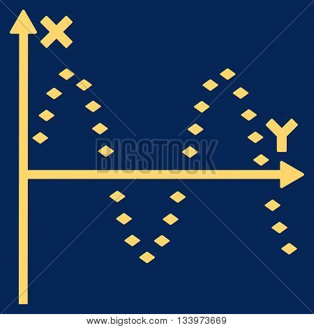 Dotted Sine Plot vector toolbar icon. Style is flat icon symbol, yellow color, blue background, rhombus dots.