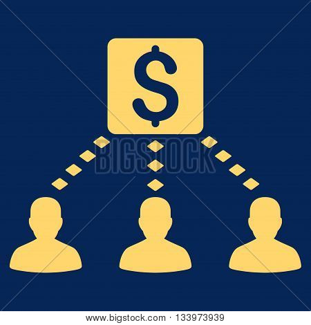 Money Recipients vector toolbar icon. Style is flat icon symbol, yellow color, blue background, rhombus dots.