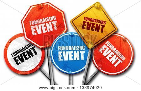 fundraising event, 3D rendering, street signs