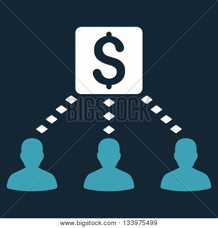 Money Recipients vector toolbar icon. Style is bicolor flat icon symbol, blue and white colors, dark blue background, rhombus dots.