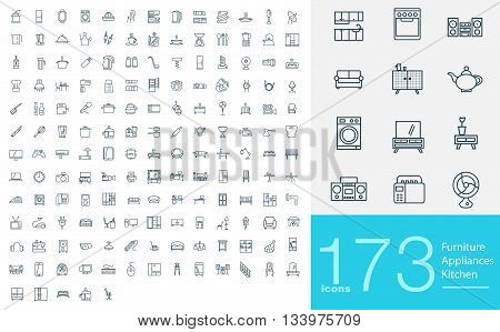 173 line icons for furniture, appliances and kitchen. Big set of professional line icons
