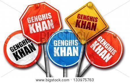 genghis khan, 3D rendering, street signs