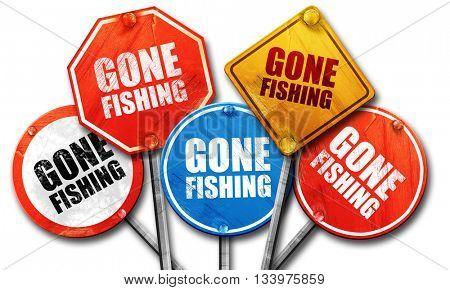 gone fishing, 3D rendering, street signs