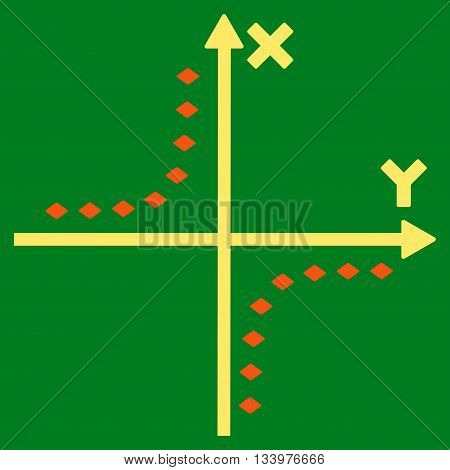 Dotted Hyperbola Plot vector toolbar icon. Style is bicolor flat icon symbol, orange and yellow colors, green background, rhombus dots.