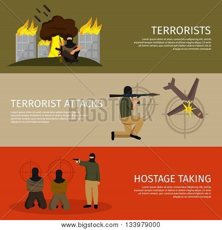 Three terrorism flat banner set with buttons and descriptions of terrorist attacks hostage taking vector illustration