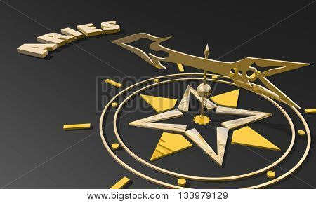 The ram astrology sign. Golden compass arrow point to astrological symbol name. 3D rendering