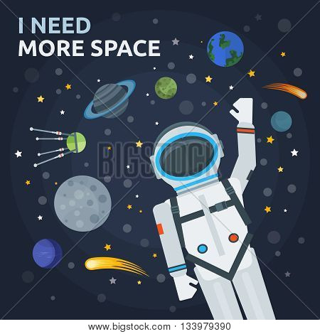 Space and man concept with astronaut in foreground planets satellites comets stars on blue background vector illustration