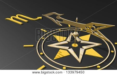 Scorpion astrology sign. Golden compass arrow point to astrological symbol. 3D rendering