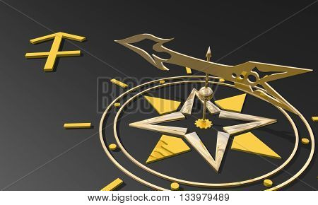 Archer astrology sign. Golden compass arrow point to astrological symbol. 3D rendering