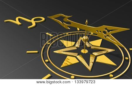 The goat astrology sign. Golden compass arrow point to astrological symbol. 3D rendering