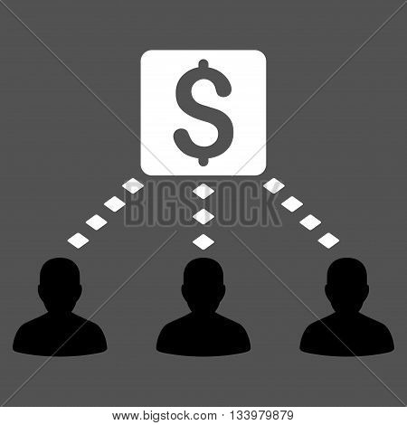 Money Recipients vector toolbar icon. Style is bicolor flat icon symbol, black and white colors, gray background, rhombus dots.