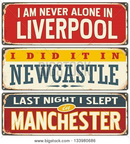Retro tin sign collection with UK city names. Vintage vector souvenir sign or postcard templates. Travel theme.