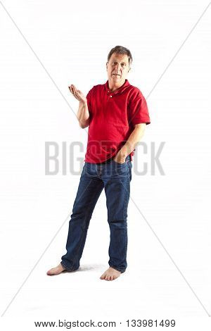 Smart Man Standing In Studio Isolated On White
