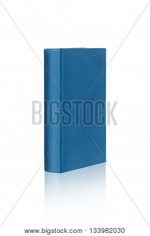 Book template on white background with reflection. Isolated with clipping paths. Focus on front part of the book.