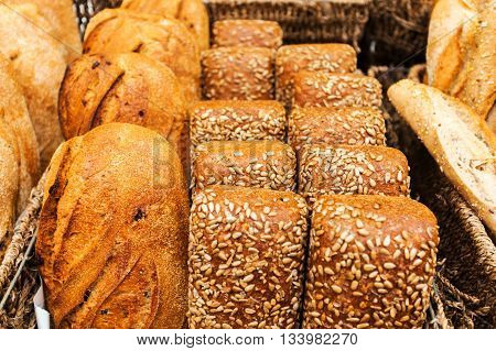 Bread counter with a large assortment of fragrant fresh bakery products to the Mahane Yehuda Market in Erusalem. Israel