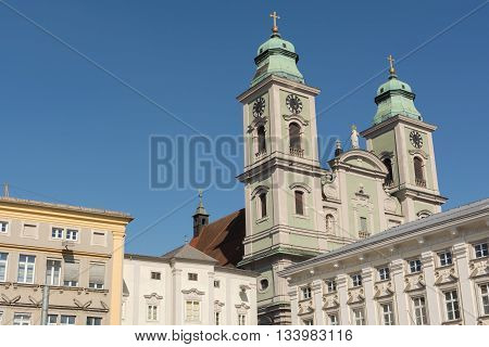 Ignatius Church - old cathedral in the main square in Linz - Austria