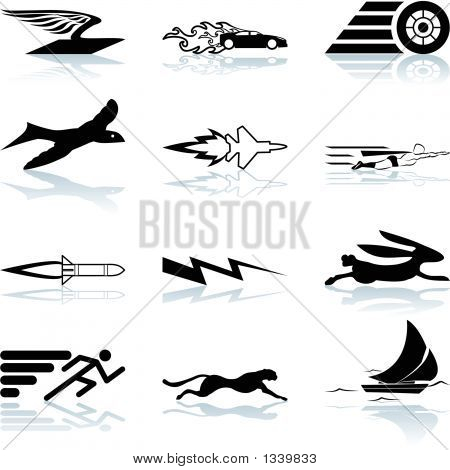 a conceptual icon set relating to speed being fast and or efficient. poster