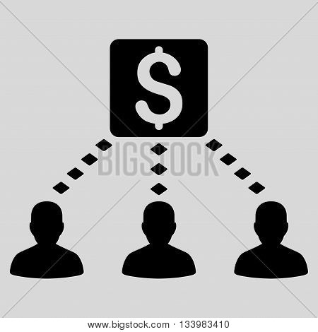 Money Recipients vector toolbar icon. Style is flat icon symbol, black color, light gray background, rhombus dots.